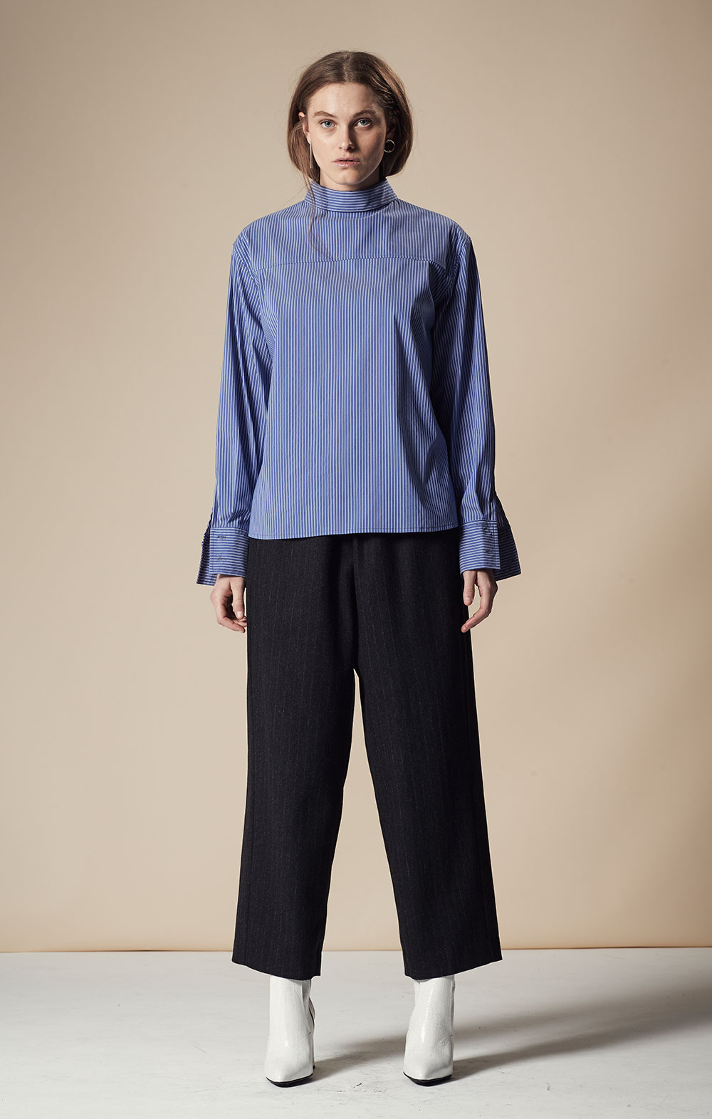 Thin Striped Open Back Shirt FBT025-BLU Elastic Waist Wool-blend Pants FBP037-BLK