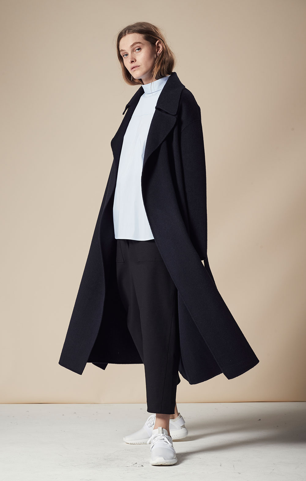 Wool-blend Handmade Coat FBJ072-NVY Thin Striped Open Back Shirt FBT025-LBL Pocket Detail Cropped Pants FBP030-BLK