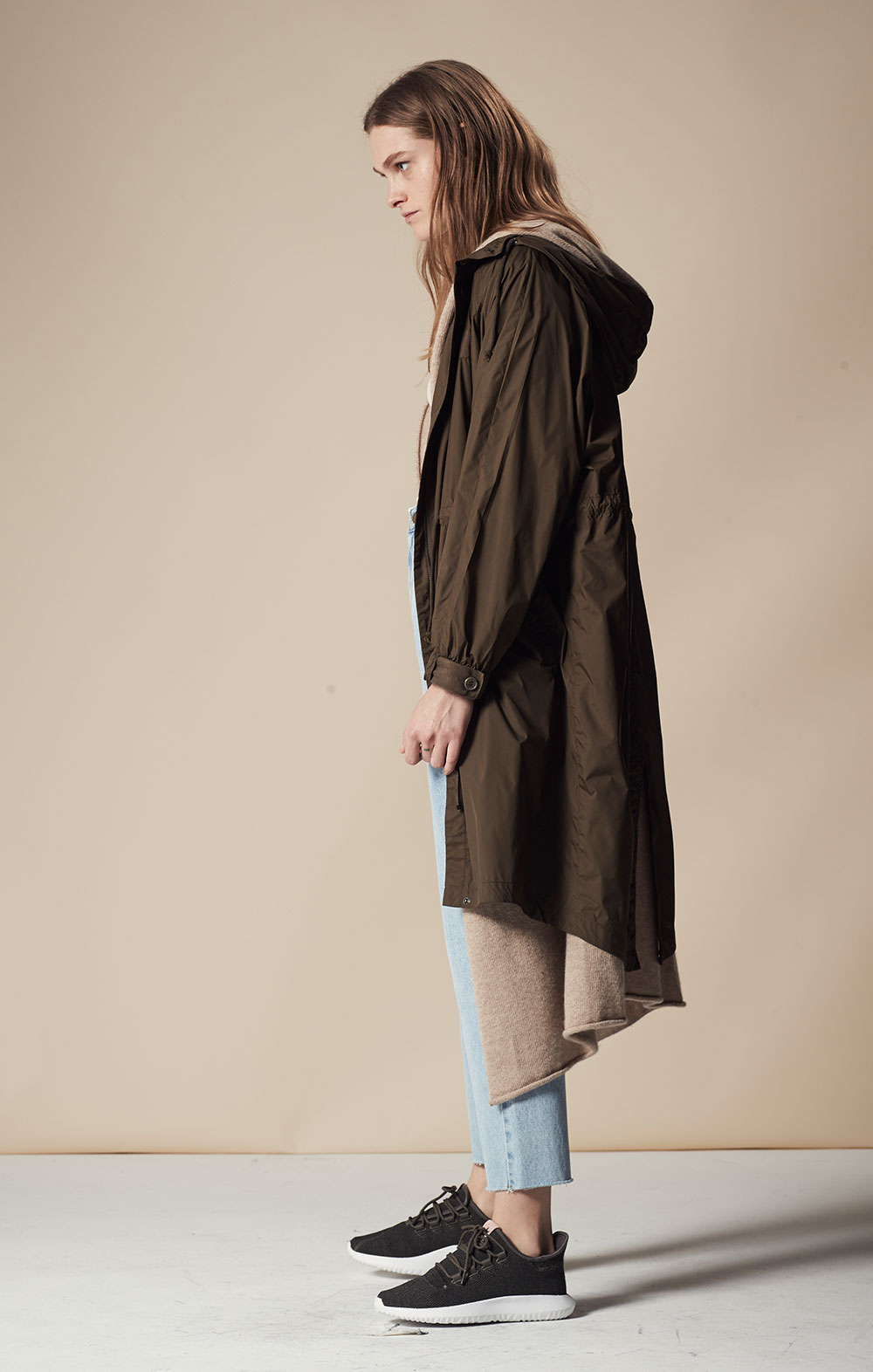 Water Repellent Hooded Anorak FBJ048-OLV Cashmere-blend Hooded Cardigan FBK090-OAT