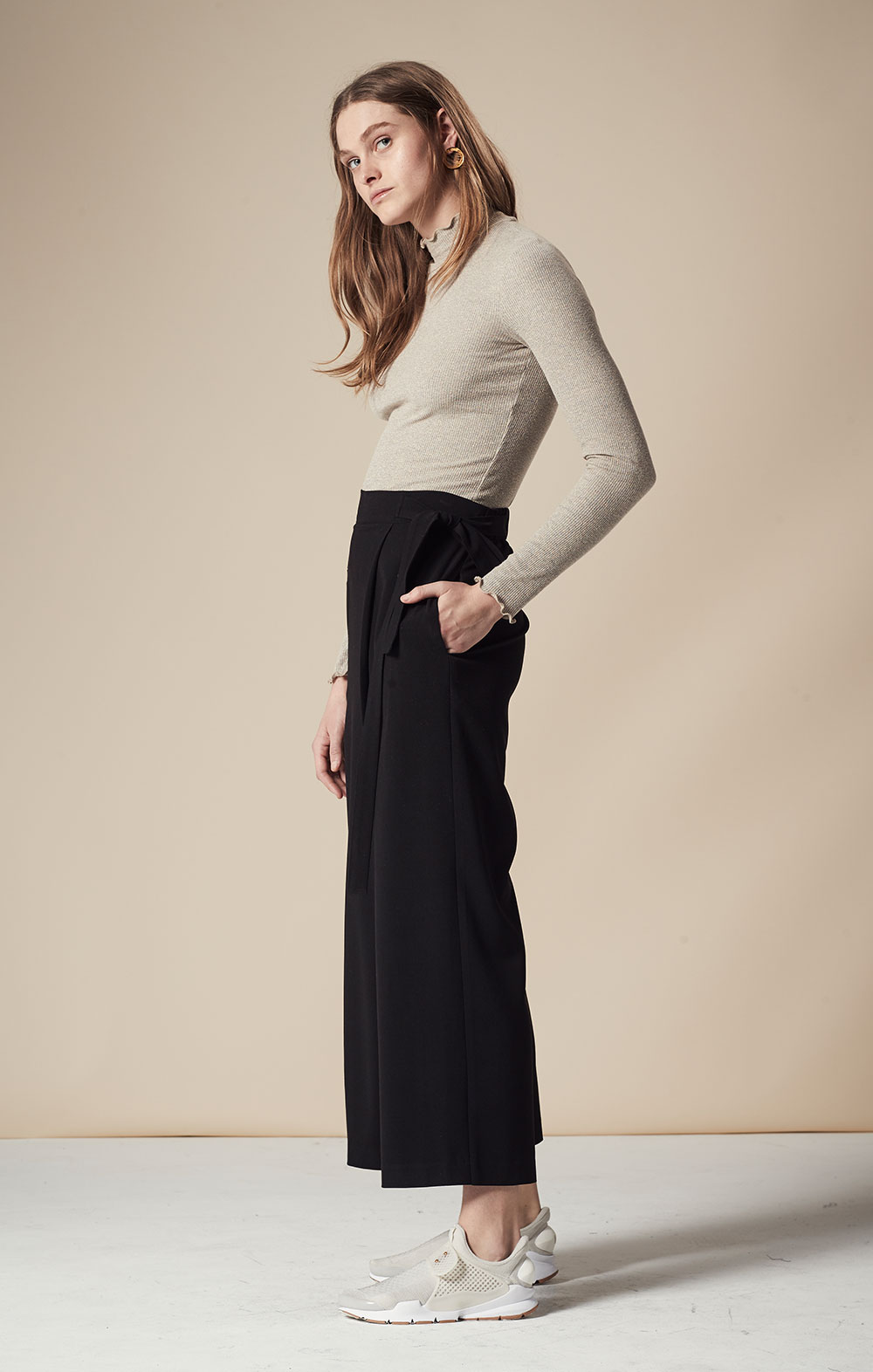 Wrap Front Cropped Wide-leg Pants FBP040-BLK