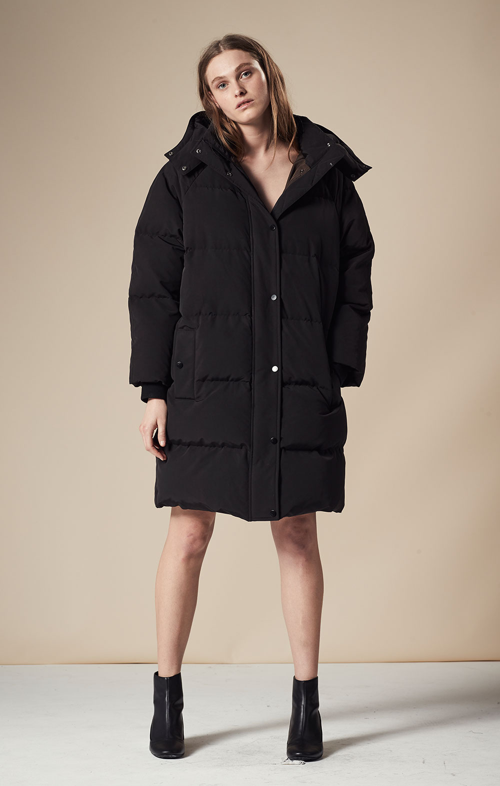 Oversized Long Down Parka FBJ065-BLK