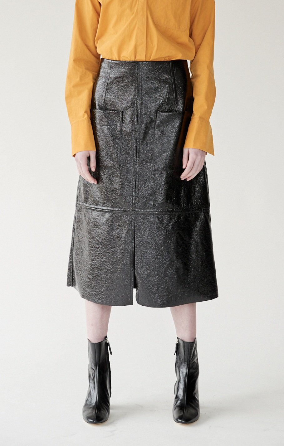 a79ec093e3 PATENT FAUX LEATHER SKIRT - BLACK — MIJEONG PARK - LA based womenswear label