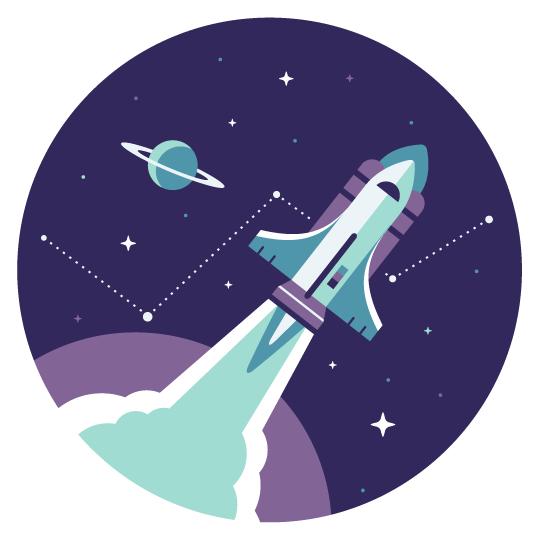 Baremetrics: Rocket Illustration  Client Work