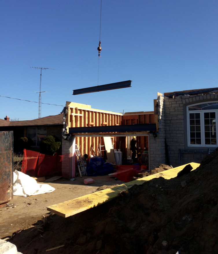 Demolition is complete and structural steel is craned into place