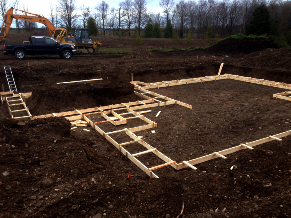 Footings formed  and ready for concrete