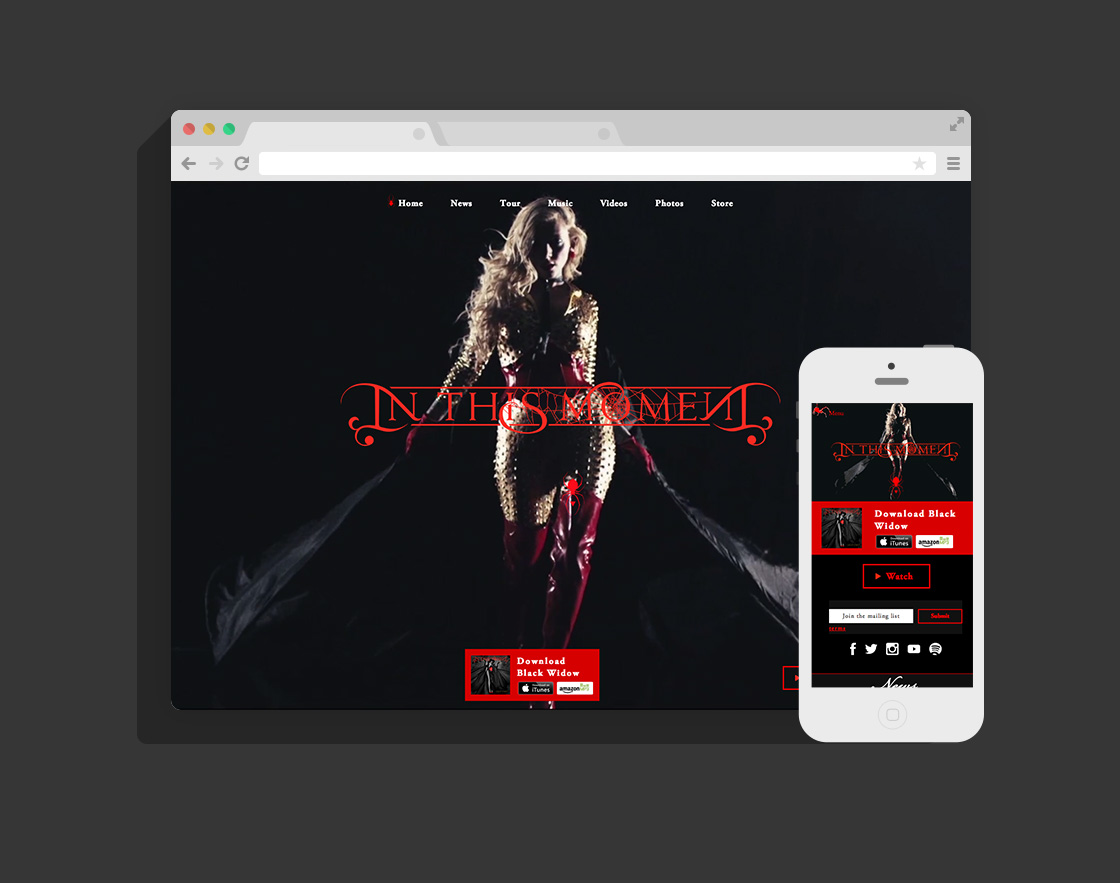 Official website design for In This Moment