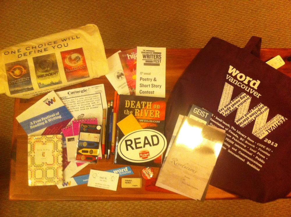 Word Vancouver swag bag and contents.