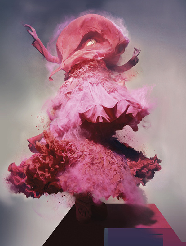 shopghost :     Gemma Ward plays with pink fairy dust.     Night Knight's consistently outstanding photography.