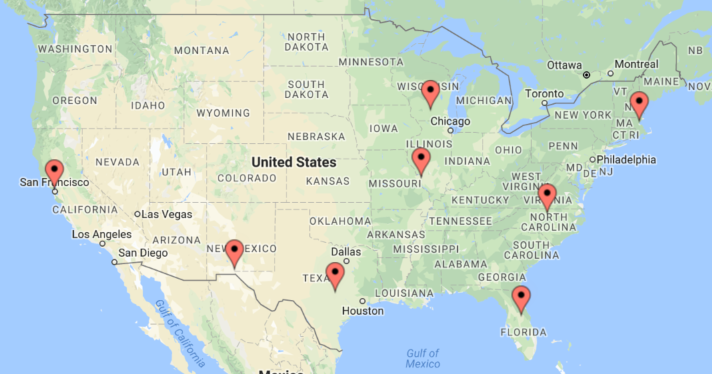 Map of Regional Food Economies Fellows' locations.