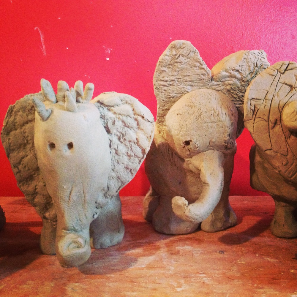 Clay elephants!  Their backs are bowls, and they're fun and easy to make.