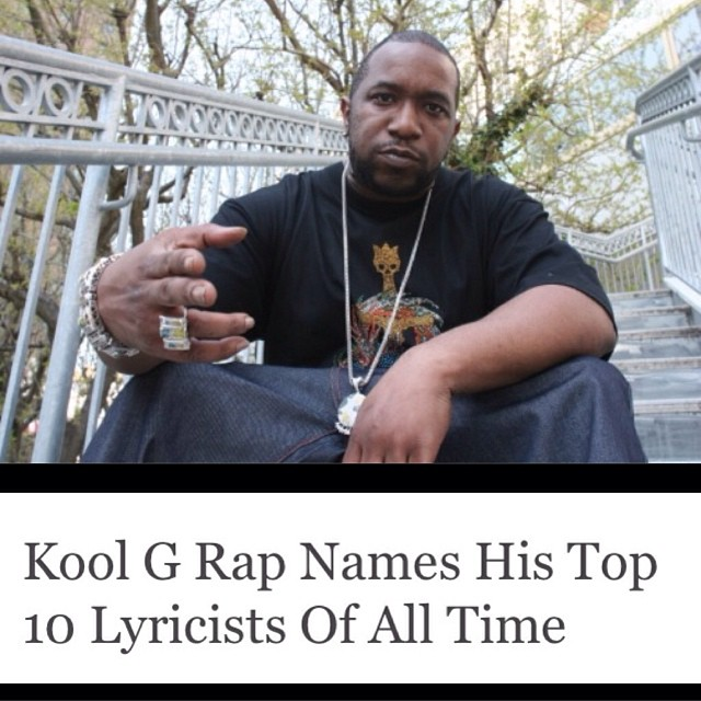 In no particular order, Kool G Rap named himself, Nas, Rakim, Big Daddy Kane, KRS-One, Jay Z, Eminem, Big Pun, Ice Cube and Scarface as the best lyricists to ever do it.    Notably, he left out Notorious B.I.G. and Tupac, to which he rebutted both were great rappers, but weren't worthy of Top 10 lyricist status. Thoughts??