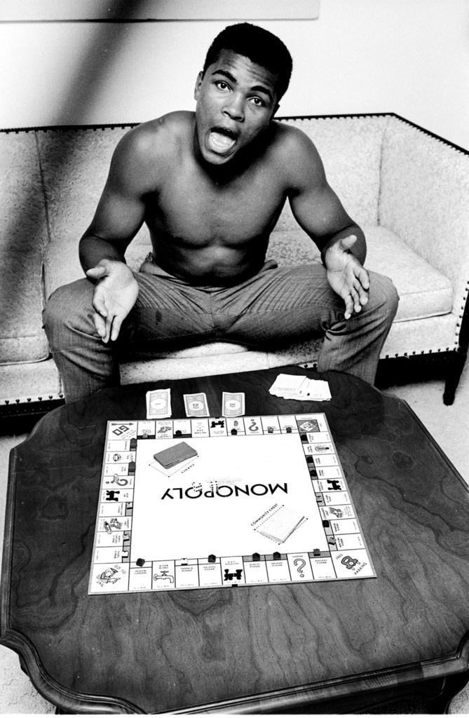 blackhistoryalbum :     MUHAMMAD ALI, BOXER & MONOPOLY PLAYER   Photo by Steve Schapiro.