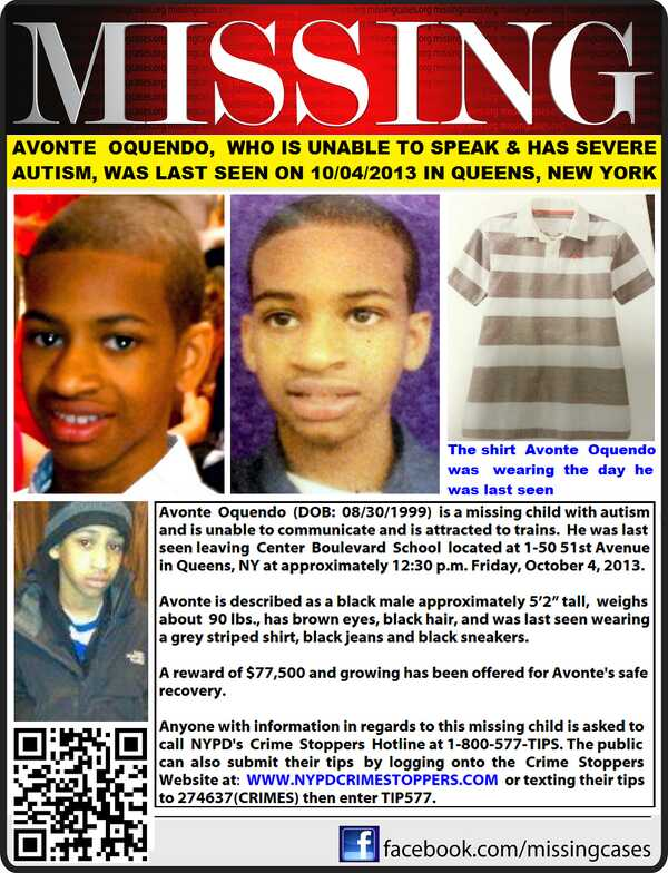 infamous-legacy :      moenyka :     Avonte Oquendo is still missing, Please Reblog this post. He is a 14yr old non verbal Autistic Boy. Please help in finding & bringing him home.     Let's reblog and help as much as we can people