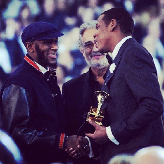 #JayZ accepts the Best Rap/Song Collaboration from #MosDef & #PlacidoDomingo at the 52nd Annual #Grammy Awards