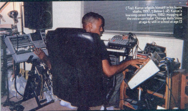 Everything Hip-hop/Fashion     Kanye schooling himself in his home studio, 1997.       http://hiphopsmithsonian.com/kanye-west