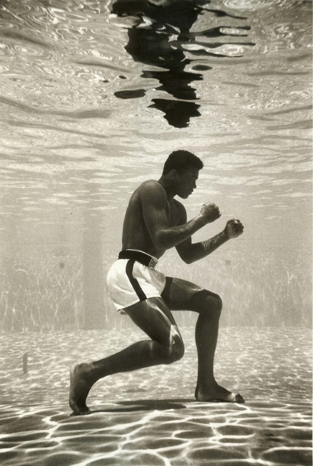 "suitsandsuccess :      standnow :      1961:      Ali Underwater, Miami     ""Float like a butterfly, sting like a bee"""