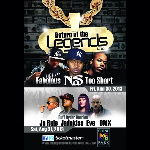 Fabolous, NAS, Too Short, Ja Rule, Jadakiss, Eve & DMX!! #Detroit is in for a treat today.