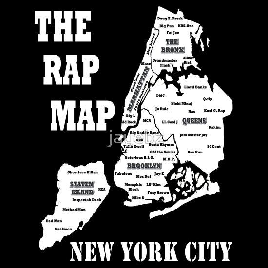 goldilochs: Rap map, viahttp://www.redbubble.com/people/jayebz/works/9131046-the-rap-map-new-york-city?body_color=black&p=t-shirt&print_location=front&style=mens.