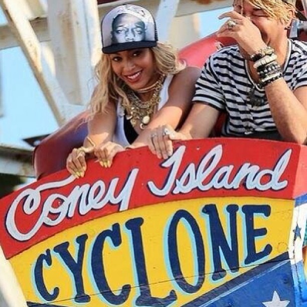 Beyonce rocking the Bigggie hat at Coney Island