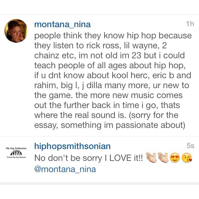 Shout out to @montana_nina …proving that appreciation for Hip Hop's pioneers has no age limit!!