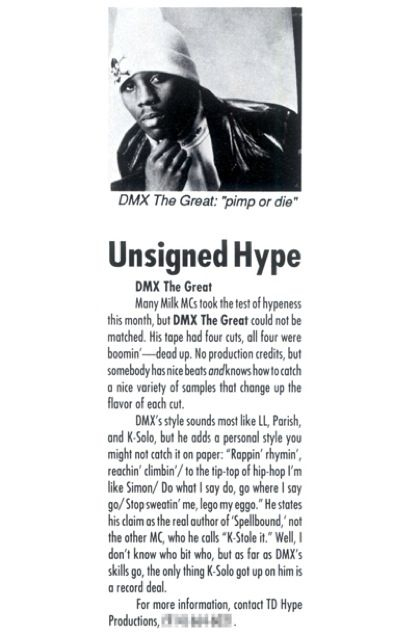 pimpclinic: DMX in The Source magazine's Unsigned Hype '91.