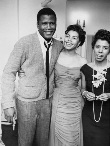 "vintageblackglamour: Sidney Poitier with his first wife, Juanita Hardy, and playwright Lorraine Hansberry at the opening of ""A Raisin in the Sun"" in New York City in 1959. Photo: Moneta Sleet for Ebony magazine via Art.com."
