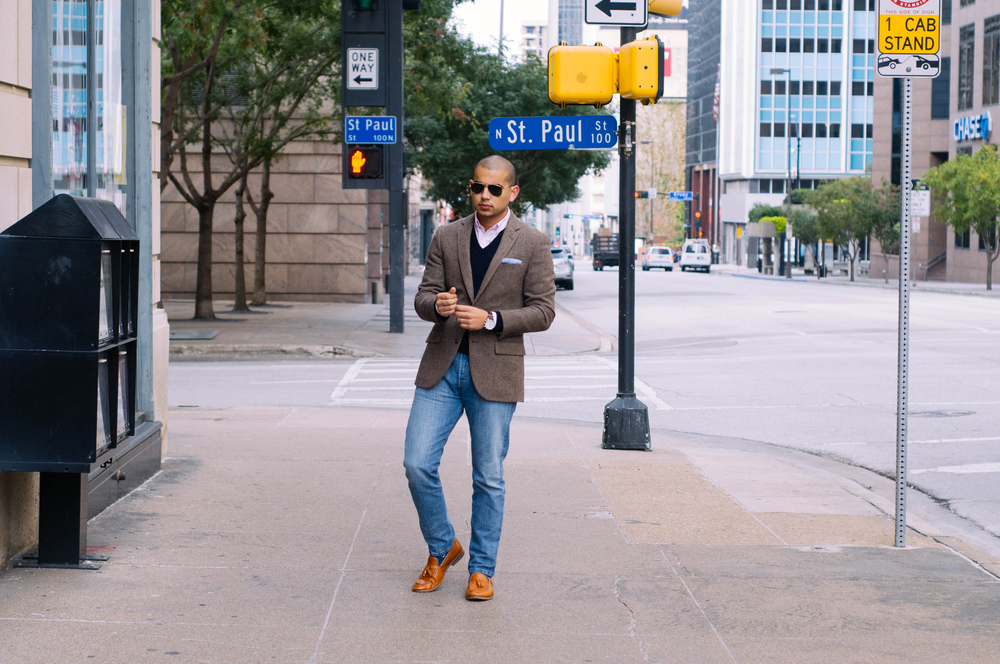 Blazer: J.Crew | Sweater: Brooks Brothers | Shirt: H&M | Jeans: Levis | Shoes: Mr. B's | Socks: J.Crew | Sunglasses: RayBan | Watch: Lucien Piccard | Pocket Square: Merona