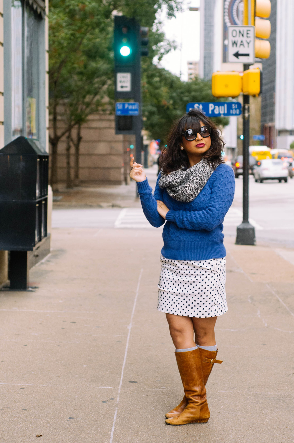 Sweater: J.Crew | Skirt: J.Crew | Boots: Steve Madden | Scarf: J.Crew | Jewelry: Forever 21 | Sunglasses: Tom Ford