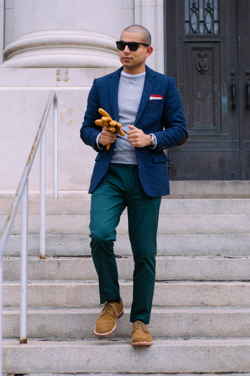 Blazer: J. Crew Factory | Pants: H&M | Sweatshirt: J.Crew | Shoes: Sperry Gold Cup | Gloves: Jack Spade | Pocket Square: The Tie Bar | Watch: Aeromatic 1912 | Sunglasses: RayBan