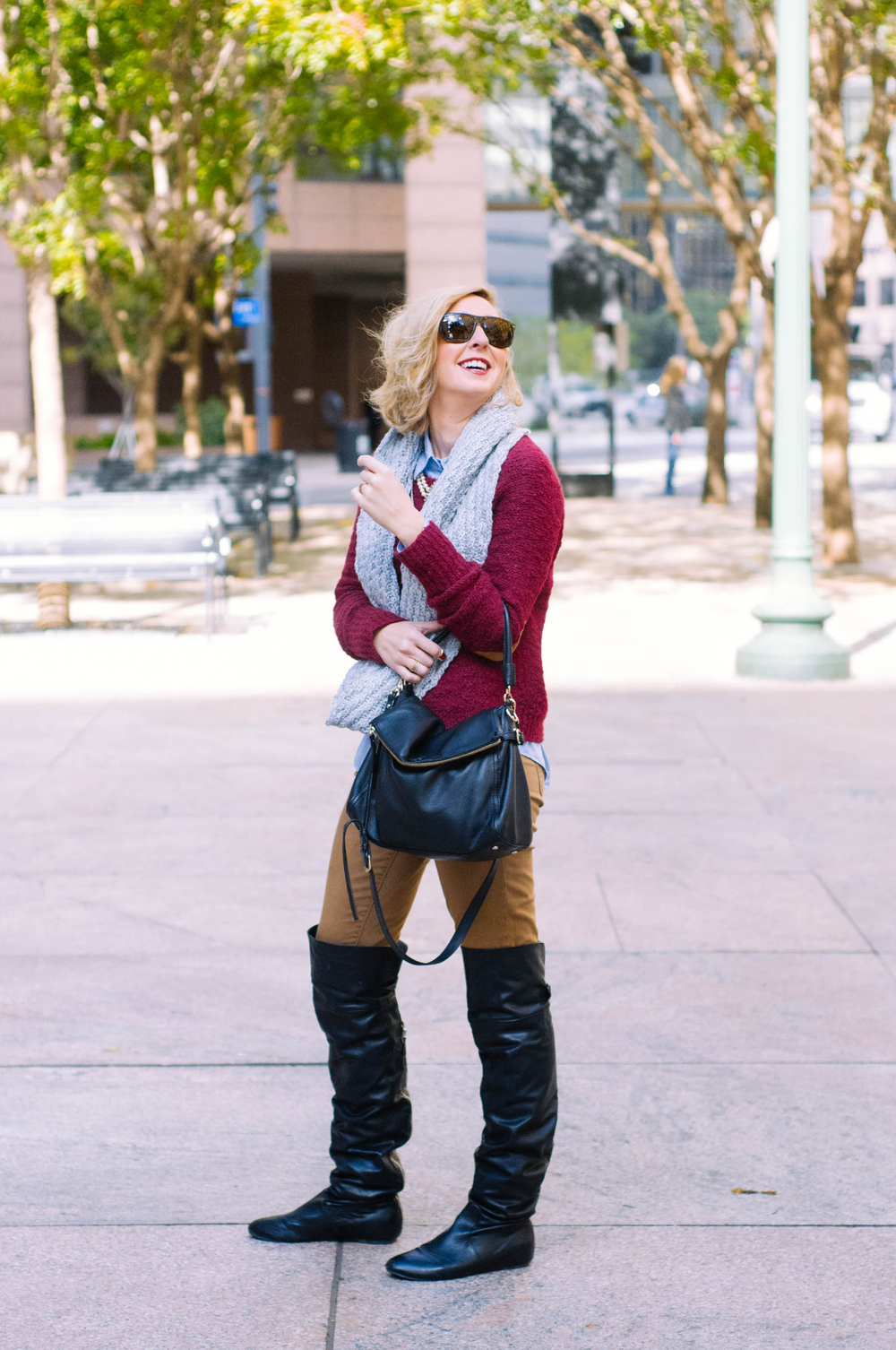 Sweater & Shirt: BDG | Pants: Gap | Boots: Francesco Milano | Scarf: Gap | Bag: Kate Spade |  Watch: Michele | Jewelry: J.Crew, Stella & Dot, Madewell, Forever 21 | Sunglasses: RayBan