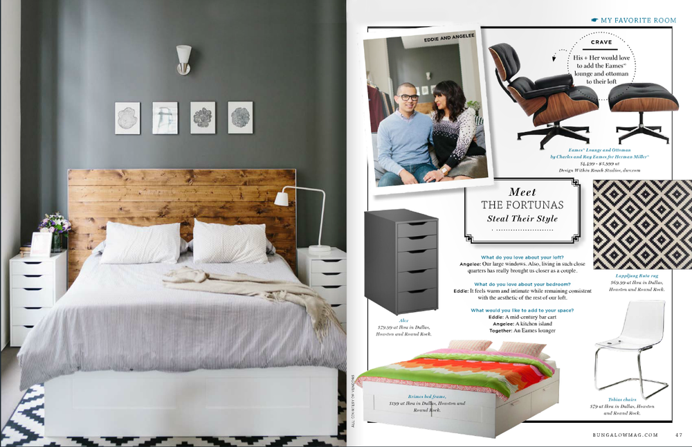 Bed Frame, Rug, Nightstands: IKEA | Headboard, Table, Coffee Table: Handmade by Eddie | Future Sofa:  West Elm