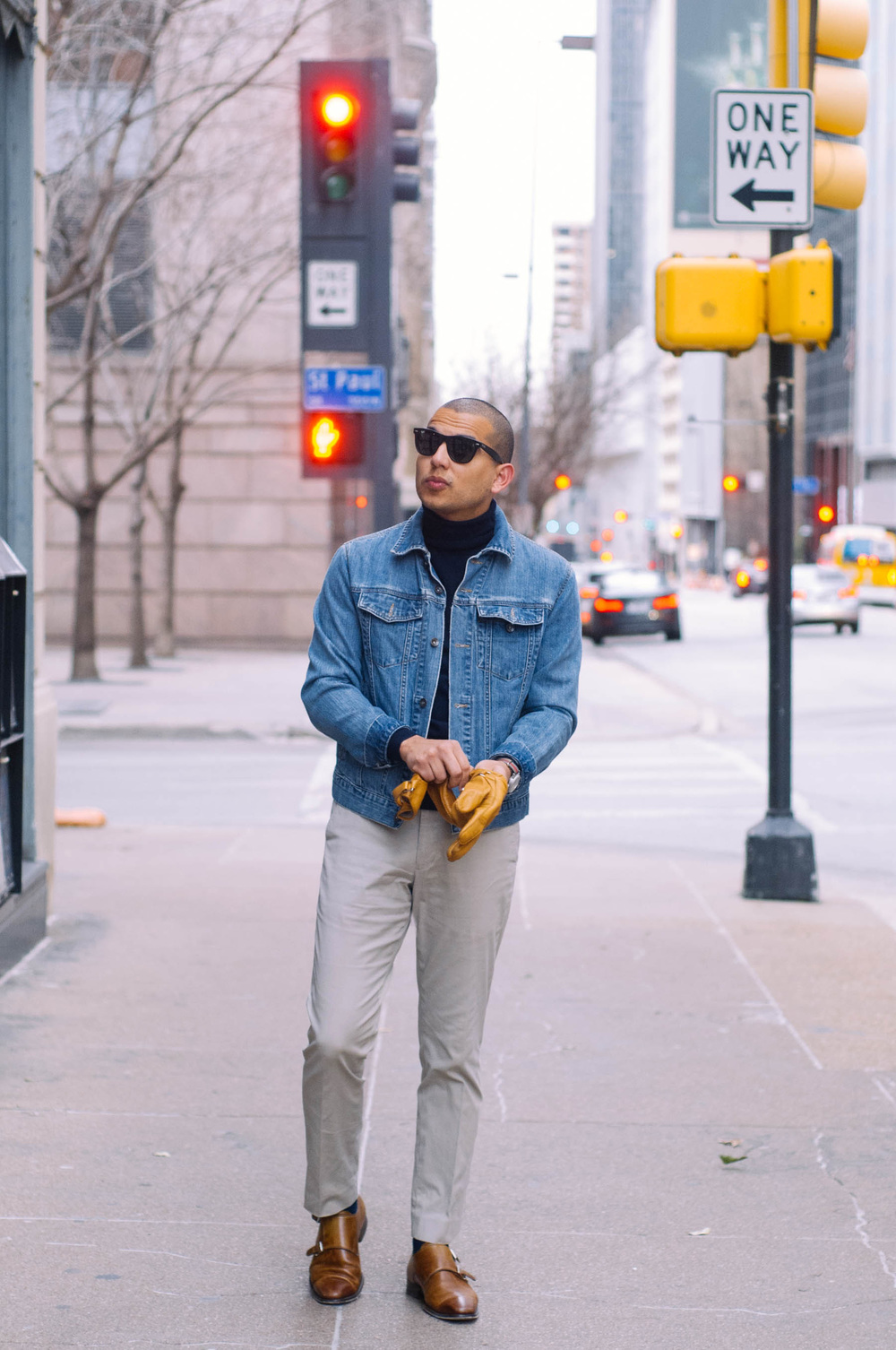 Denim Jacket: Old Navy (similar  here ) | Turtleneck:  J.Crew  | Pants:  J.Crew  | Shoes:  Magnanni  | Gloves: Jack Spade (GREAT and affordable  alternative here ) | Sunglasses:  RayBan