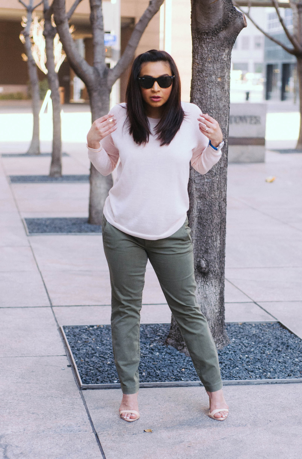 Sweater: J.Crew ( lots of color options! ) | Pants:  J.Crew  | Shoes: Zara (similar  here ) | Earrings:  Kate Spade  | Sunglasses:  RayBan  | Nail Polish: O.P.I.