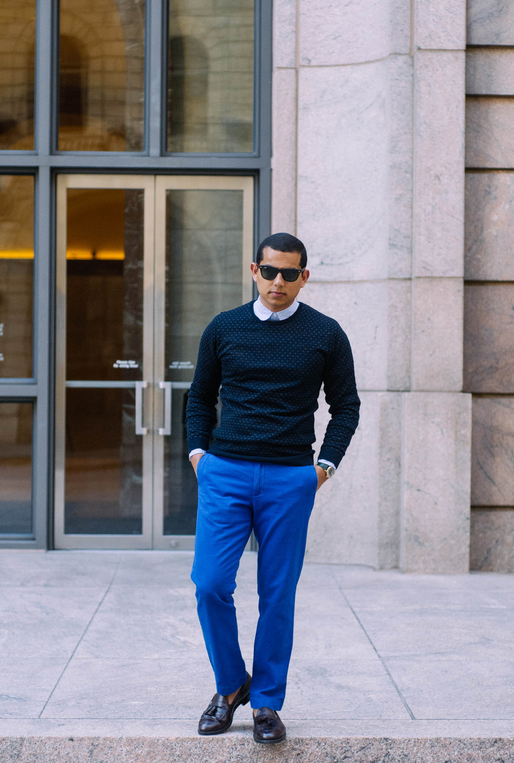 Sweater: H&M (similar  here ) | Pants: J.Crew (similar  here ) | Shirt:  J.Crew  | Shoes: Alden (similar  here ) | Sunglasses:  RayBan  | Watch:  Shinola
