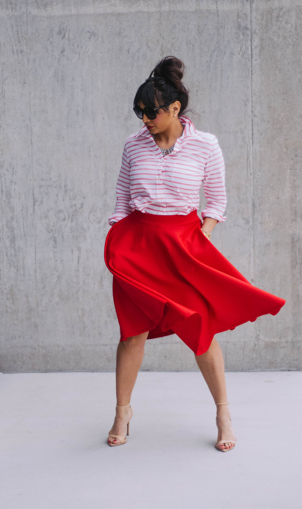 Skirt:  ASOS  | Shirt:  Gap  | Shoes:  Zara  | Sunglasses:  Tom Ford  | Necklace: J.Crew (similar  here ) | Watch: Michael Kors (also love  this one )