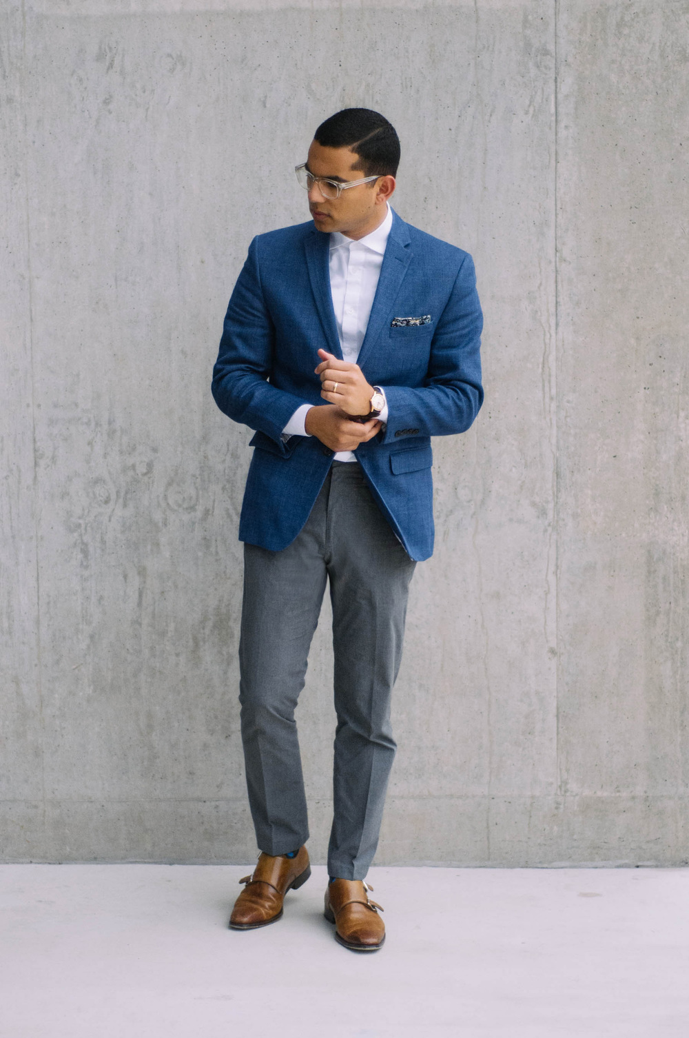 Blazer: H&M (similar  here ) | Shirt: H&M (similar  here ) | Pants: J.Crew | Shoes:  Magnanni  | Pocket Square: J.Crew (also love  this one ) | Watch: Omega (similar  here ) | Socks: J.Crew ( these  are great too) | Glasses: Moscot