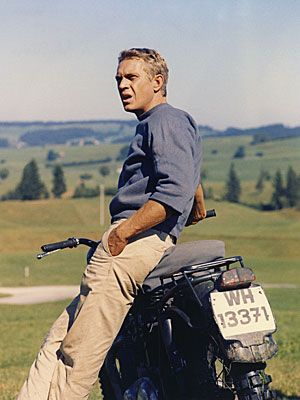 A man and his bike, and his classic combo of chinos and chambray.