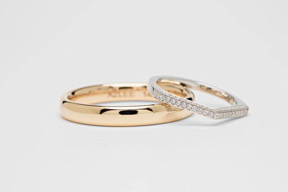 Custom Mens Band & Celestial Diamond Ring