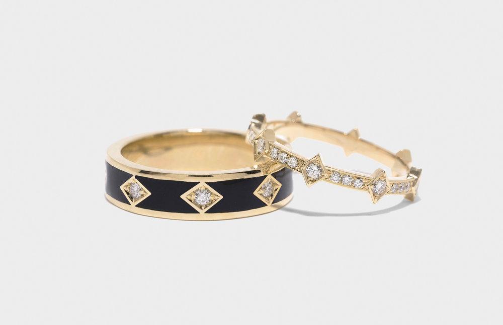 Night Sky Diamond Ring & Full Diamond Illuminate Ring