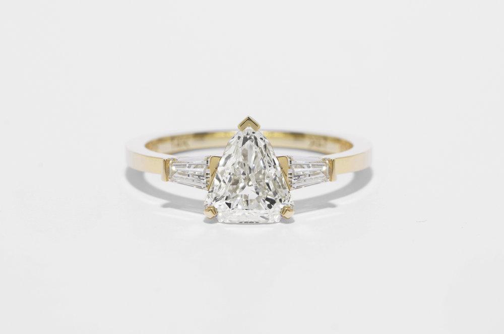 Shield & Baguette Diamond Ring