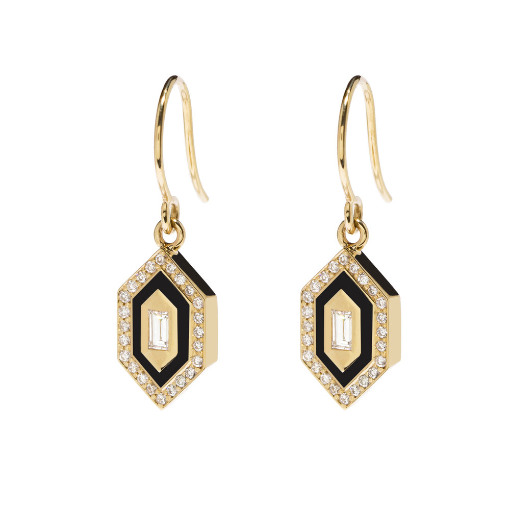 earrings gold maison small bettina format disc diamond duncan