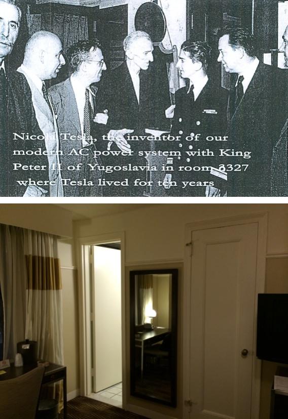 Nicola Tesla with King Peter II of Yugoslavia in Room 3327 - June 1942 (Top) and September 2014 (Bottom)