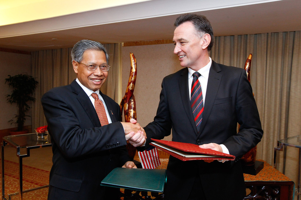 With Malaysia's Trade Minister Mustapa Mohamed