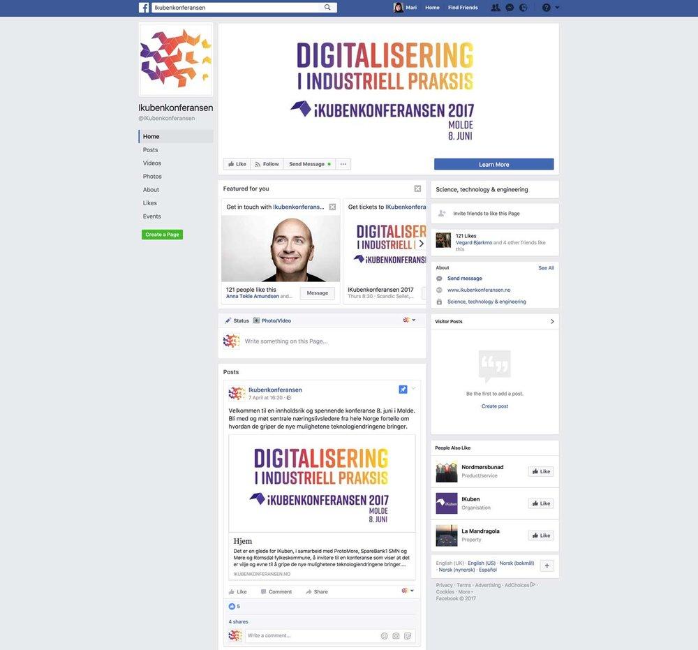 Vi satte også opp egen Facebookside for iKubenkonferansen.