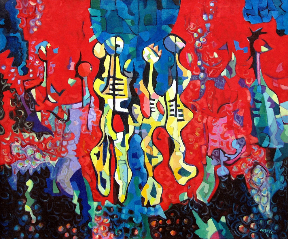 "The Circus 1991 42"" x 50"" acrylic on canvas"