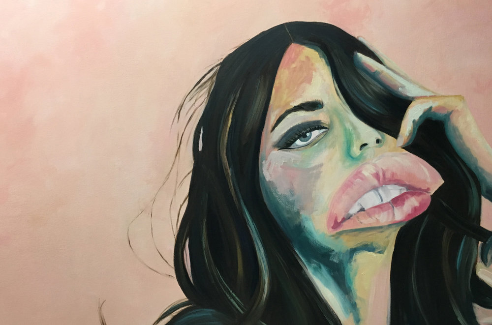 All the Better to Kiss You With , 2018. Oil on canvas, 36 x 60 in.