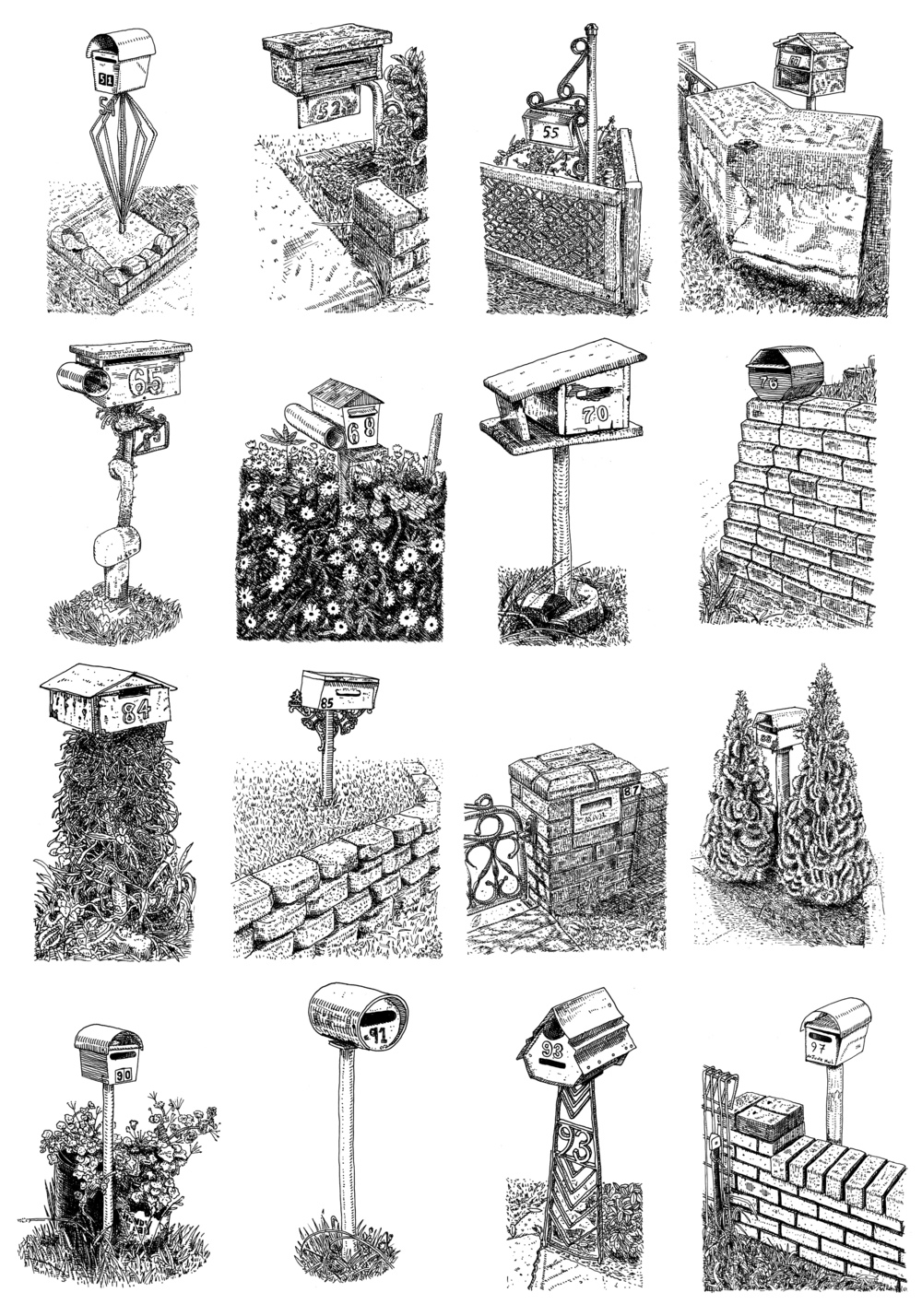 16 Postbox set