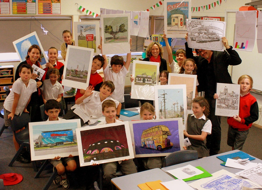 Showing my work to the children at The Junction Public School, Newcastle.