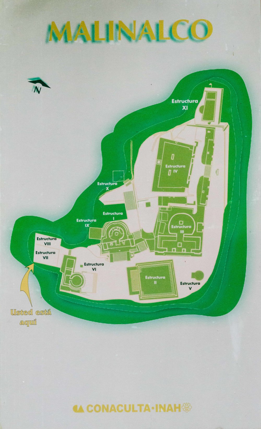 Map of the archaeological site of Malinalco.