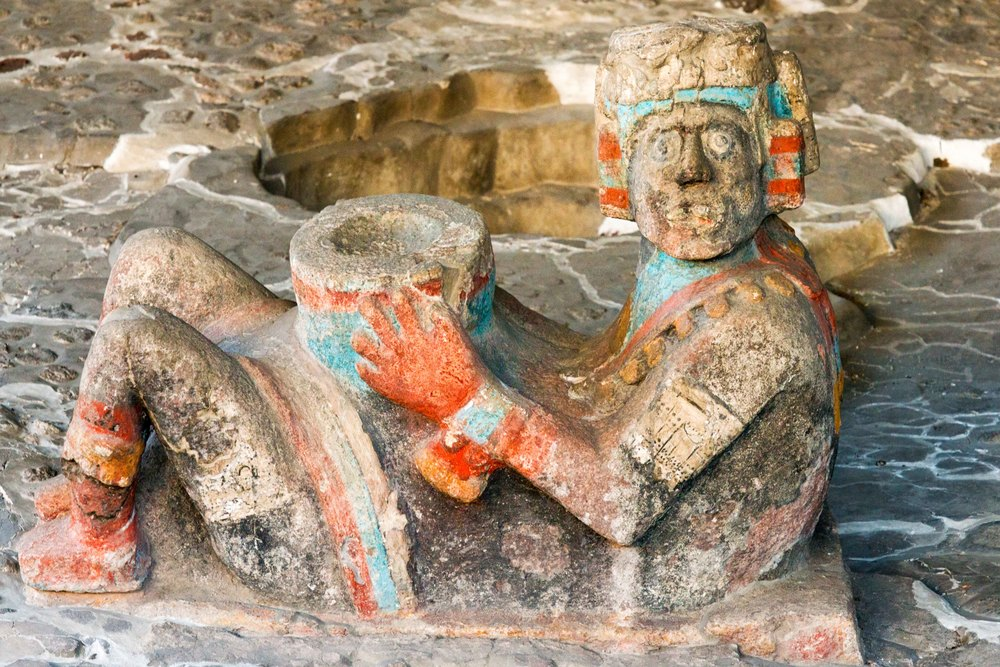 Aztec  Chac Mool  from the Great Temple of Tenochtitlan, Mexico City.